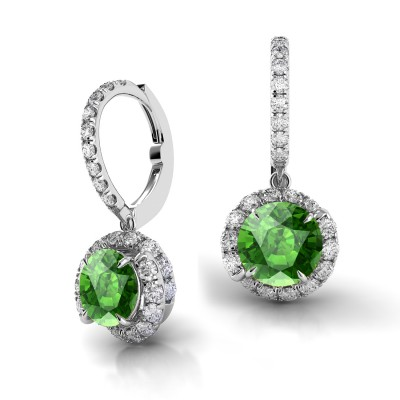 Swirl Green Tourmaline Drop Diamond Earrings