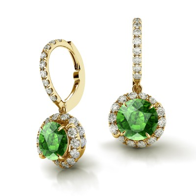 Swirl Green Tourmaline Drop Diamond Earrings AH101Y-GT