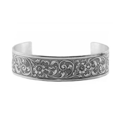 Vintage | Die Struck | Silver Platinum | Floral | Scrolls | Bracelet