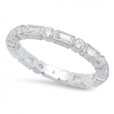 Baguette and Round Diamond Eternity Band-2.6mm