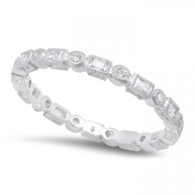Baguette and Round Diamond Eternity Band-2mm