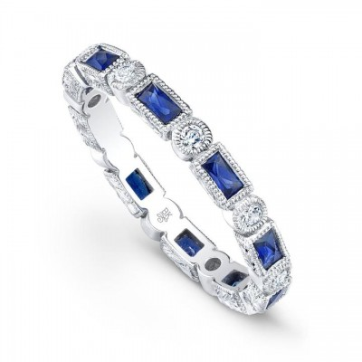 Baguette Sapphire and Round Diamond Eternity Band-2.6mm