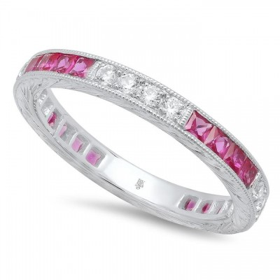 French Cut Ruby and Round Diamond Eternity Band