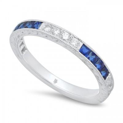 French Cut Sapphire and Round Diamond Band Set Half Way