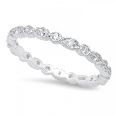 Marquise and Round Diamond Eternity Band