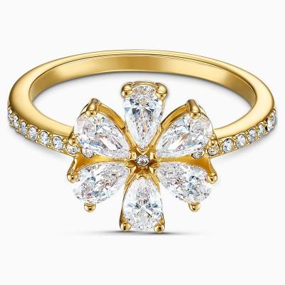 BOTANICAL FLOWER RING, WHITE, GOLD-TONE PLATED