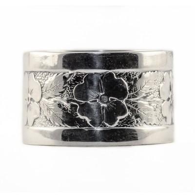 BR008 | Vintage | Engraved Bracelet | Die Struck | Gold Silver | Floral