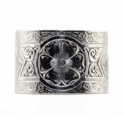 BR014 | Engraved Bracelet | Die Struck | Silver | Flowers | Leaves | Scrolls