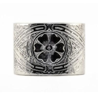 BR015 | Vintage | Engraved Bracelet | Die Struck | Gold Silver | Floral