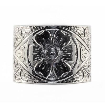 BR016 | Estate | Engraved Bracelet | Die Struck | Gold Silver | Floral | Scrolls