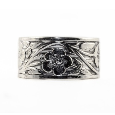 BR019 | Engraved Bracelet | Die Struck | Silver | Flowers