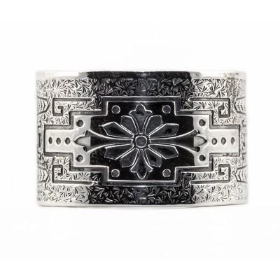 BR020 | Estate | Engraved Bracelet | Die Struck | Gold Silver | Flower