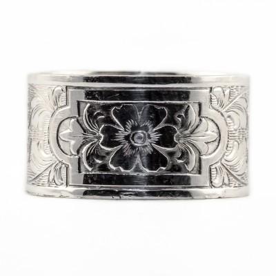 BR027 | Estate | Die Struck | Bracelet | Gold Silver Platinum | Floral | Scrolls