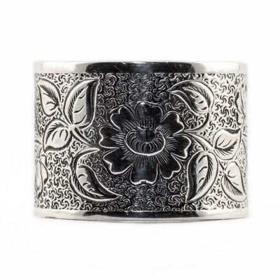 BR029 | Antique | Engraved Bracelet | Die Struck | Gold | Silver | Floral