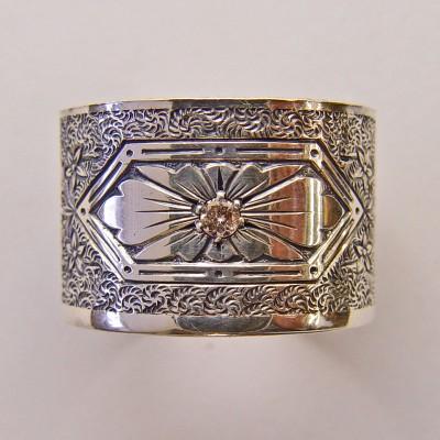 BR031 | Antique | Engraved Bracelet | Die Struck | Gold Silver | Floral