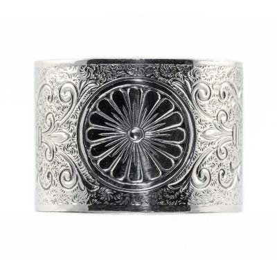 BR047 | Engraved Bracelet | Die Struck | Silver | Flowers | Running Scrolls