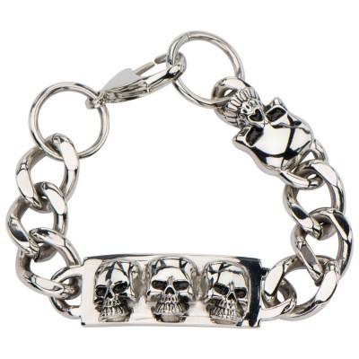 Skull ID Curb Chain Bracelet