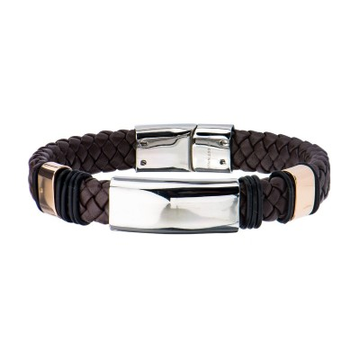 Brown Leather Bracelet with Buckle Closure