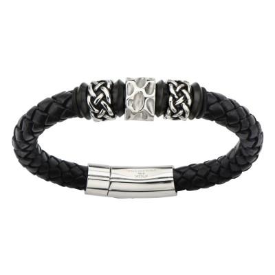 Celtic Knot Bead in Black Braided Leather Bracelet