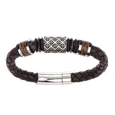 Fleur De Lis Brown Braided Leather Bracelet