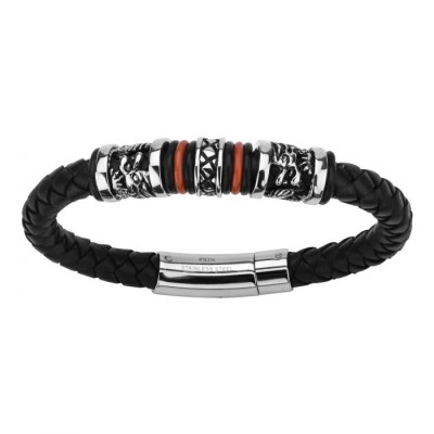 Black Leather with Red Orange Steel Bracelet