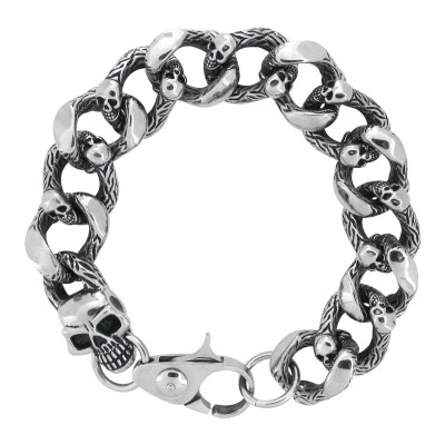 Heavy Duty Curb Chain Bracelet with Casted Skulls