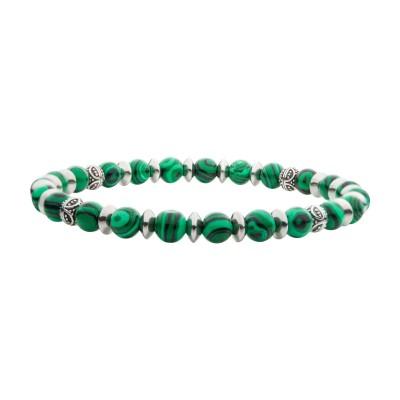 Malachite Stones with Black Oxidized Beads Bracelet