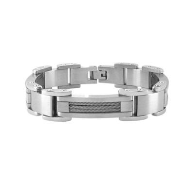Matte Polish Finished Bracelet with Interconnected Steel Link