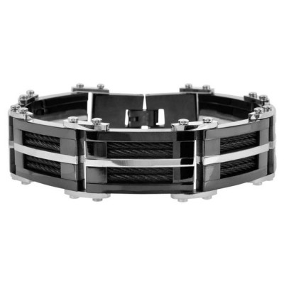 Plated Black Bracelet with Multiple Black Cables Inlayed