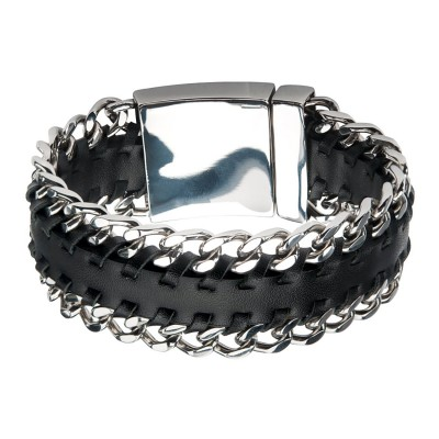 Black Leather with Steel Curb Chain Both Sides Bracelet
