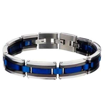 Black, Blue Plated & Steel Links Bracelet