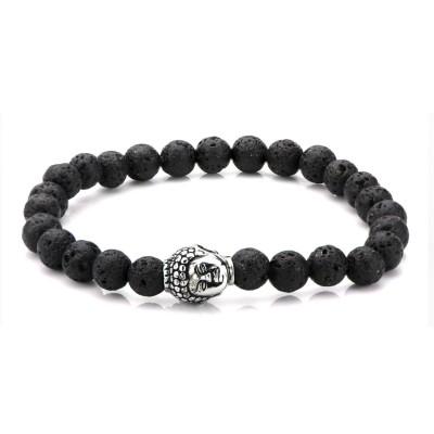 Black Lava Bead Buddha Bracelet