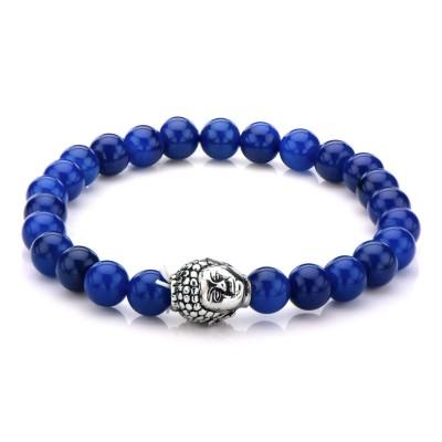 Lapis Bead Buddha Head Bracelet