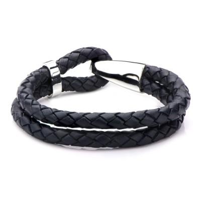 Double Dark Navy Blue Leather & Steel Bracelet