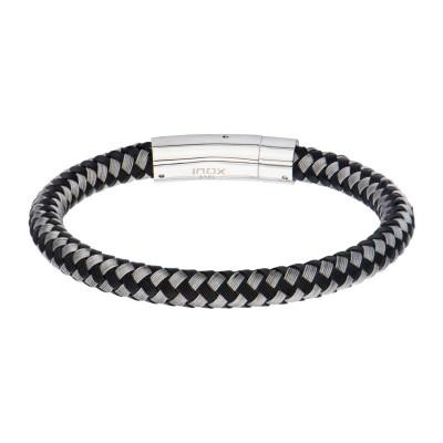 Black and White Thread Braided Woven Bracelet