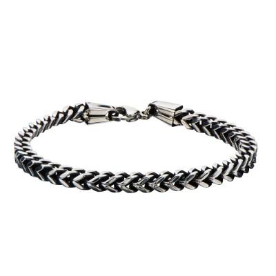 Black Oxidize Franco Chain Bracelet