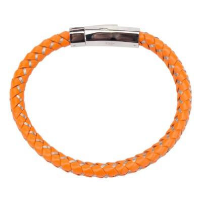 Mix Orange Woven Leather Bracelet