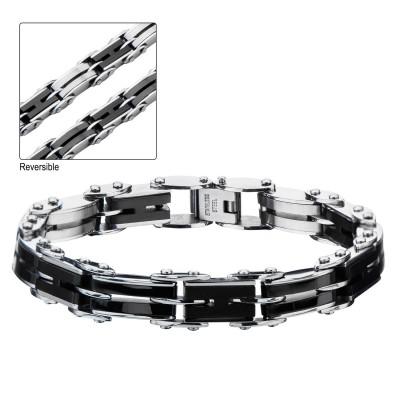 Black Plated H-Link Reversible Bracelet