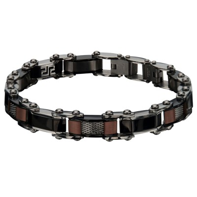 Double Sided Plated Black and Cappuccino Greek Keys Bracelet