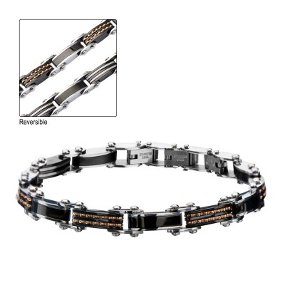 Double Sided Steel, Black & Rose Gold Plated Bracelet