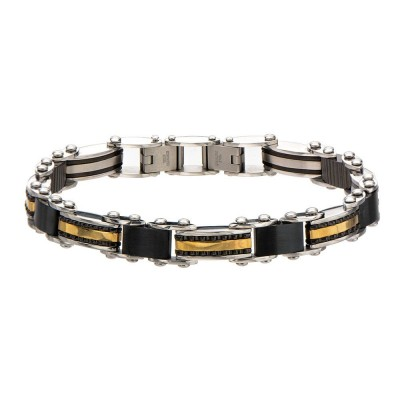 Double Sided Steel, Black and Gold Plated Bracelet