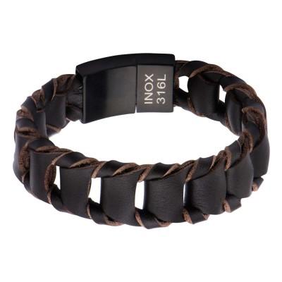 Big Fold Braided Brown Leather Bracelet