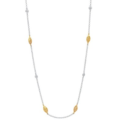 2-tone White and Yellow Ladies Necklace C140 YELLOW AND WHITE