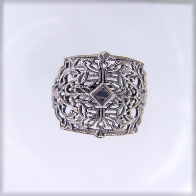 CB001 | Antique| Cigar Band | Gold Platinum Silver | .03ct 2mm round stone