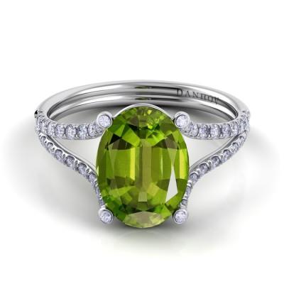 Split Shank Peridot Diamond Ring