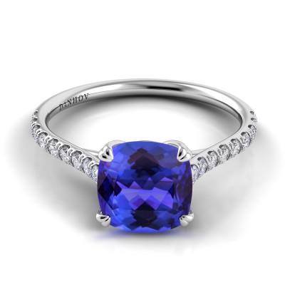 Cushion Cut Blue Sapphire Diamond Ring