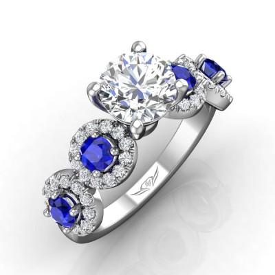 14k White Gold Ladies Engagement Ring DABM38A