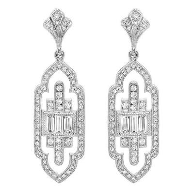White Gold Ladies Earring E10270-D