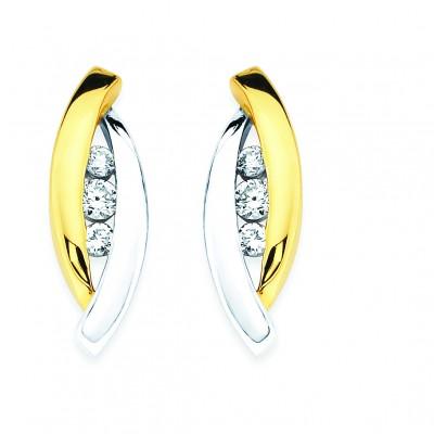 14k Yellow & White Gold Diamond Earrings