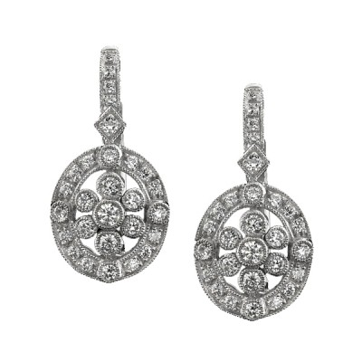 White Gold Ladies Earring E750(C)-D,D,D